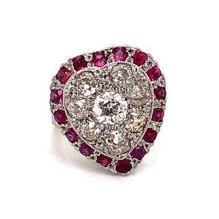 Victorian 14k Diamond Ruby Heart Shaped Ring