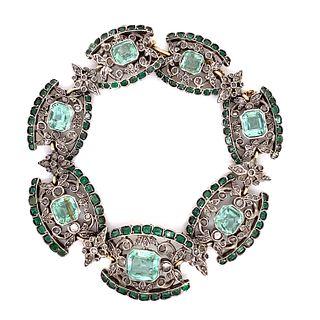 Georgian Sterling Silver & 15k Diamond Emerald BraceletÊ