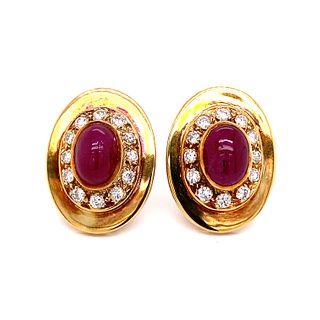1970Õs 14k Ruby Diamond Earrings
