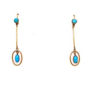 Victorian 14k Turquoise Long Drop Earrings