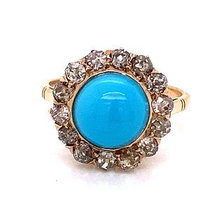 Victorian 14k Turquoise Halo Diamond RingÊ