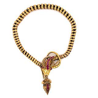 Victorian 14k Ruby Diamond Snake BraceletÊ