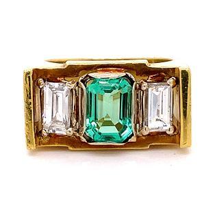 18k Emerald Diamond Chevalier Ring