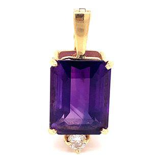 14k Amethyst Diamond Enhancer Pendant