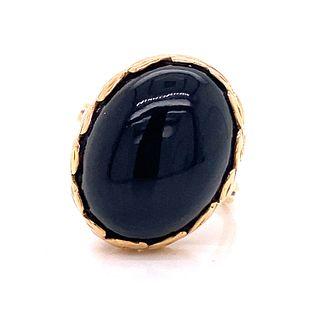 Victorian 14k Black Jade Cabochon Ring