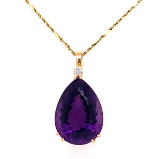 18k Amethyst Diamond PendantÊ