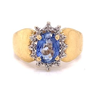 14k Sapphire Diamond Halo RingÊ