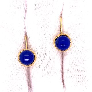 14k Cabochon Lapis Lazuli Earrings