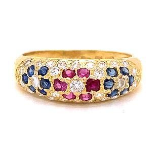 18k Sapph/Dia/ Ruby Ring