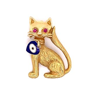14k Evil Eye Cat Charm