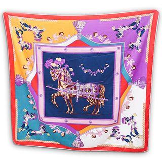 Hermes Equestrian Print Silk Scarf