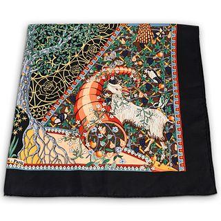 Hermes Axis Mundi Black Silk Scarf