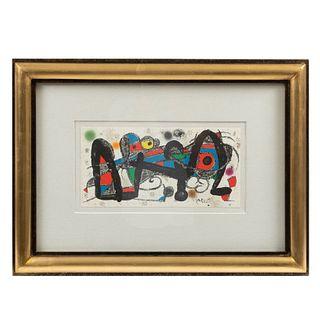 JOAN MIRÓ, Portugal, de la carpeta Miró Escultor, 1974,Firmada en plancha, Litografía sin número de tiraje, 19.5 x 39.8 cm