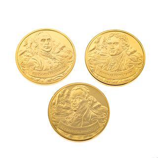 Colección de monedas conmemorativas de los padres fundadores de Estados Unidos. Estados Unidos, siglo XXI. Franklin Mint. En m...