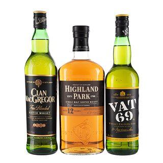 Whisky. a) Clan MacGregor. b) Vat 69. c) Highland Park. Total de piezas: 3.