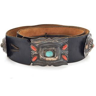Native American Turquoise, Coral, Silver Concho Belt