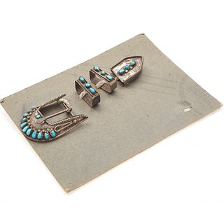 Native American Turquoise, Silver Belt Buckle Set