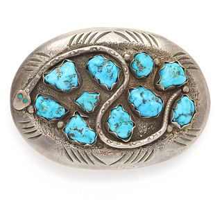 Native American Turquoise, Sterling Belt Buckle