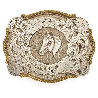 Native American Sterling Silver Horse Belt Buckle