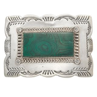 Native American Malachite, Sterling Silver Belt Buckle