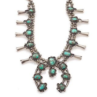 Native American Turquoise, Silver, Squash Blossom Necklace