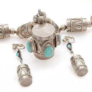Navajo Turquoise, Silver Drum Jewelry Suite