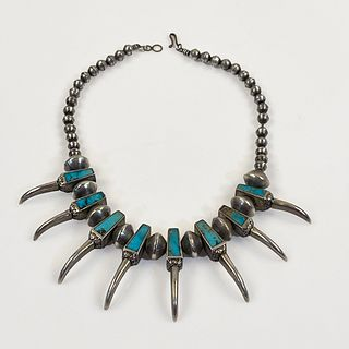 Native American Turquoise, Silver Claws Necklace