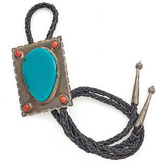 Native American Chrysocolla, Coral, Sterling Bolo Tie