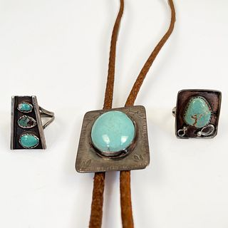 Collection of Native American Turquoise, Silver Jewelry