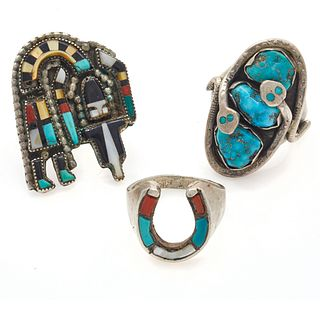 Collection of Zuni Turquoise, Inlaid Stone Rings