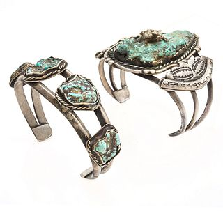 Group of Two Native American Turquoise, Silver Bracelets