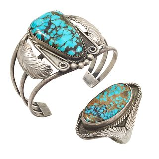 Navajo, Glen Adakai, Turquoise, Silver Jewelry Suite