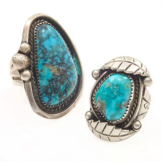 Collection of Two Navajo Turquoise, Sterling Rings
