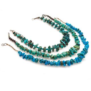 Collection of Three Native American Turquoise Necklaces