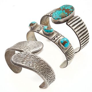 Collection of Two Turquoise, Silver Bracelets