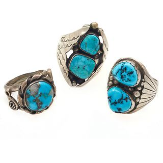 Collection of Three Turquoise, Sterling Silver Rings