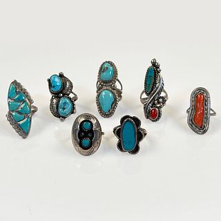 Collection of Seven Turquoise, Coral, Silver Rings