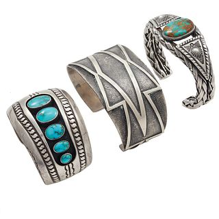 Collection of Navajo Turquoise, Silver Cuff Bracelets