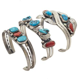 Collection of Three Navajo Turquoise, Coral Bracelets