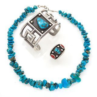 Native American Turquoise, Coral Jewelry Suite