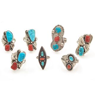Seven Navajo Turquoise, Coral, Silver Rings