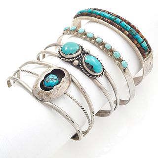Collection of Four Native American Turquoise Cuff Bracelets