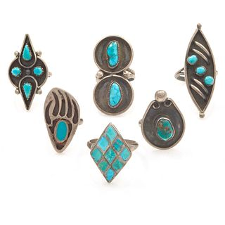 Collection of Six Turquoise, Sterling Silver Rings