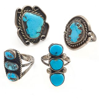 Collection of Four Navajo Turquoise, Silver Rings