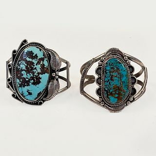 Collection of Two Native American Turquoise, Silver Bracelets