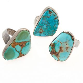 Group of Three Turquoise, Silver Rings