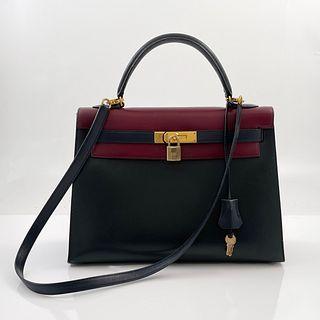 Hermes 32cm Tri-Color Sellier Kelly Bag
