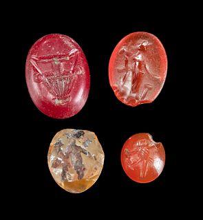 Lot of 4 Roman Carnelian & Glass Intaglios