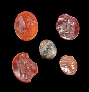 5 Roman Carnelian and Raw Spinel Intaglios