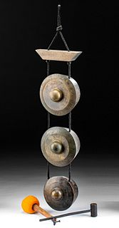 18th C. Burmese Brass 3-Bell Meditation Gong w/ Mallet